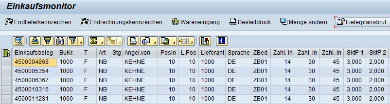 MM Einkaufsmonitor SAP